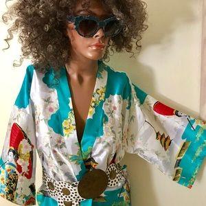 Jackets & Coats - Fabulous Japanese Art Print Kimono Jacket Small